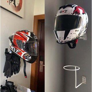 ③新品/バイク ヘルメットハンガー 《ホワイト》 壁掛け 吊るし...