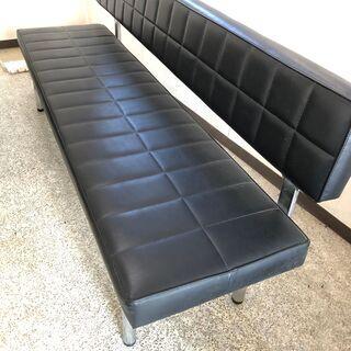 長椅子 ベンチ型ソファ(黒)