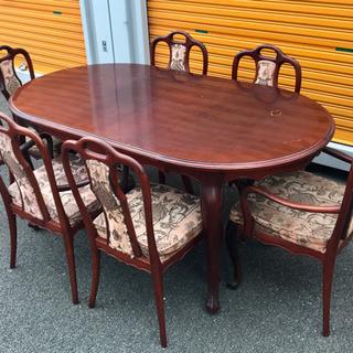 アンティーク 猫脚テーブルセット 椅子6脚