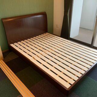 【ダブルサイズ ベッドフレーム】※引き取りのみ 木製のシンプルな...