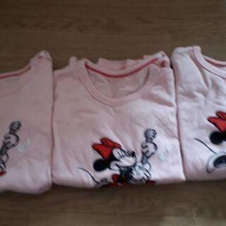 ミニーマウス ロングTシャツ 薄ピンク 三枚組 👕の画像
