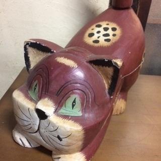 インドネシア 木彫り置物 特大 猫 BIGサイズ