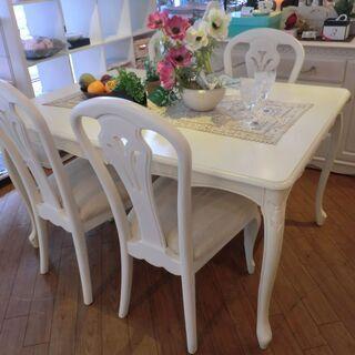 【中古品】自社配送&設置可能 木製ダイニングテーブル&チェ…