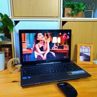 core5で大容量500Gの高性能Acer♪ 極美品! 最新Windows10 64Bit☆ 高級感のあるモダンブラック♪  メモリ4G テンキー内蔵  大画面15.6インチ   黒 高級感 マウス付き  ノートパソコン 無線LAN Wi-Fi対応 DVDドライブ - 福岡市