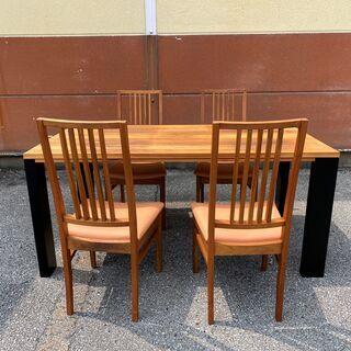 ダイニングテーブルセット テーブル チェア 5点セット 茶 展示...