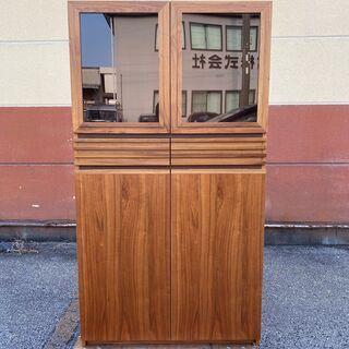 キャビネット フリーラック 棚 食器棚 ブラウン ガラス板 展示...