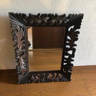 アンティーク鏡、木製、ヴィンテージ、古道具