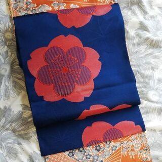 着物(オレンジ) 小紋 名古屋帯(青) セット