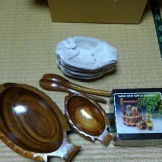 木皿セット(調味料入れ付き)