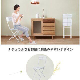 【未使用】2脚セット 折りたたみチェア/パイプ椅子 (背もたれ付...