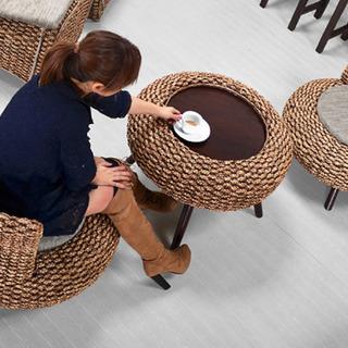 ウォーターヒヤシンス製コーヒテーブル椅子セット