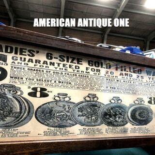 USAヴィンテージ 当時の額入り看板 懐中時計  宣伝広告ポスタ...