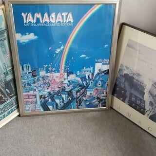 ヒロヤマガタ ポスター 3点セット いずれも額は劣化あり。