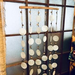 アジア雑貨 タイ製 貝の吊り下げ飾り 風鈴 のれん
