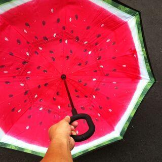 スイカ 長傘 逆さ傘 逆折り式傘 C型手元 晴雨兼用 耐風 ビジ...