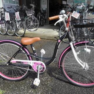 中古子供自転車1139 前後タイヤ新品!24インチ ギヤなし L...