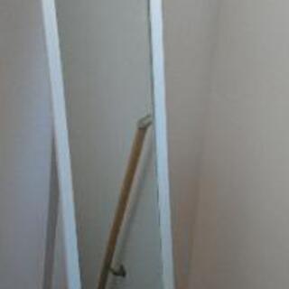 ※取引完了【姿見】木製スリムスタンドミラー(ホワイト)