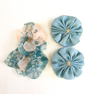 3点セット【未使用】ヘアアクセサリー バレッタ フリル お花 フラワー