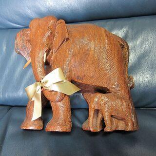 値下げ!木彫 象の親子