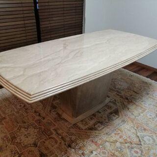 総大理石ダイニングテーブル/表面リペア済み
