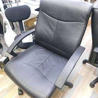 中古良品 合皮 社長椅子 オフィスチェア 肘掛付き