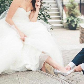 #パンプス#ブライダル#結婚式#パーティー#美品#シルバー#ラメ#格安の画像