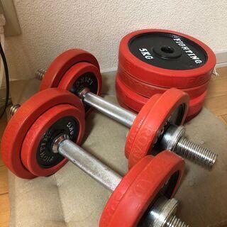 【取りに来てくれる方限定】40kgセットラバーダンベルファ…