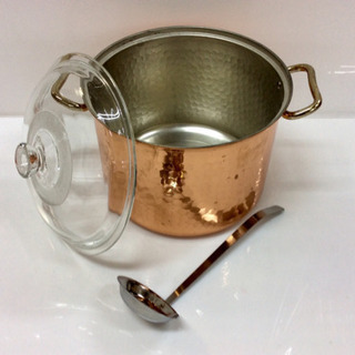 【銅鍋 】お玉杓子・ガラス蓋付き 銅製なべ