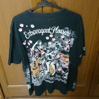 抜刀娘 XXL 和柄 刺繍 大きいサイズ Tシャツ