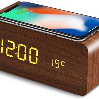 デジタル目覚まし置き時計 スマホ・ワイヤレス充電機能付き