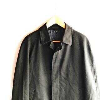 古着  ロング  ウール ステンカラーコート ブラック
