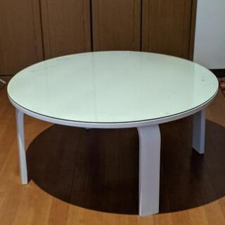 白色円形ローテーブル
