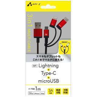 新品 Apple認証 3in1 Lightning Type-C...