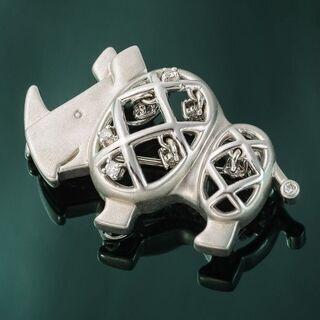 田崎(TASAKI) K18WG ダイヤモンドブローチ (サイモチーフ) 品番7-405 − 東京都
