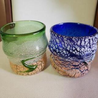 琉球ガラス、ロックグラス(青、緑)
