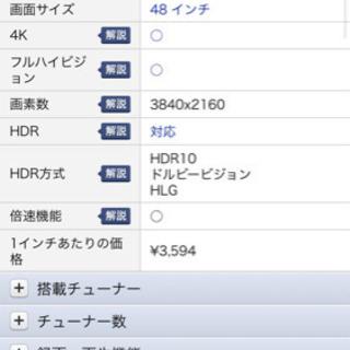 最新48インチ4K有機ELテレビ - 奈良市