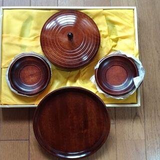 新品 菓子器セット 茶托5つ お盆1つ ロクロ目 未使用