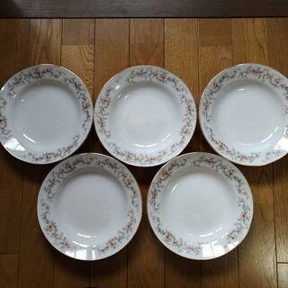 新品 カレー皿 5枚 スプーン5本付 金縁花柄 未使用