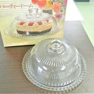 フランス製 ガラス ケーキドーム 27cm カバー&敷皿 スイー...