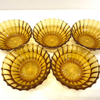 【昭和レトロ】アンバーガラス食器 飴色ガラス 5枚セット