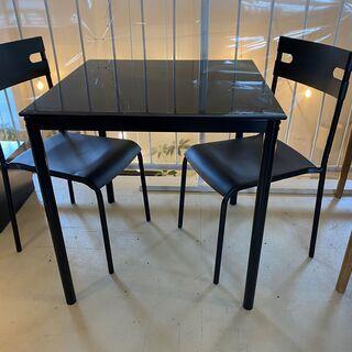 ダイニングテーブルセット テーブル チェア 3点セット 黒 ガラ...