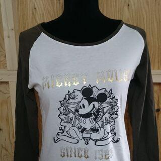 Disney ミッキーロゴ ツートン長袖シャツ。・:*:a0059