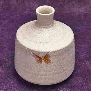 【JA】背戸窯 県無形文化財 加藤釥 白釉 蝶紋  花入 花瓶