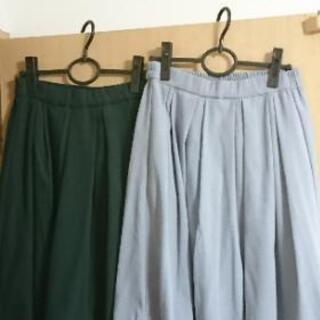 新品タグ付き☆上品なスエードタックフレアースカート2点セッ…
