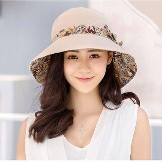 レディース 帽子 ハット コンパクト UVカット専用 小顔効果 お出かけ 折りたためる 日常生活 56の画像