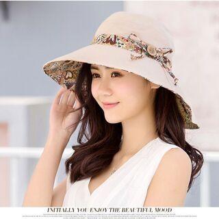 レディース 帽子 ハット コンパクト UVカット専用 小顔効果 お出かけ 折りたためる 日常生活 56 - 印西市