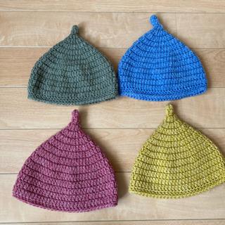 【ハンドメイド】どんぐり帽子 とんがり帽子 ニットキャップ ニット帽