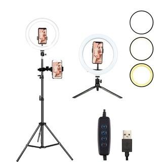 LED スマホ2台分 リングライト 伸縮三脚セット h160