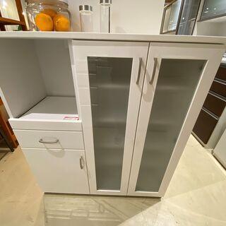 ミドルレンジボード ニトリ 白 収納棚 キッチン収納 中古品