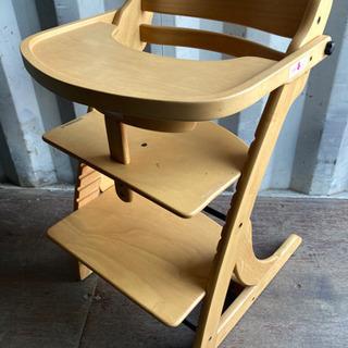 0919-15 ベビーチェア テーブル付き 高さ調節可 木製